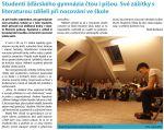 Studenti žďárského gymnázia čtou i píšou. Své zážitky s<br>literaturou sdíleli při nocování ve škole